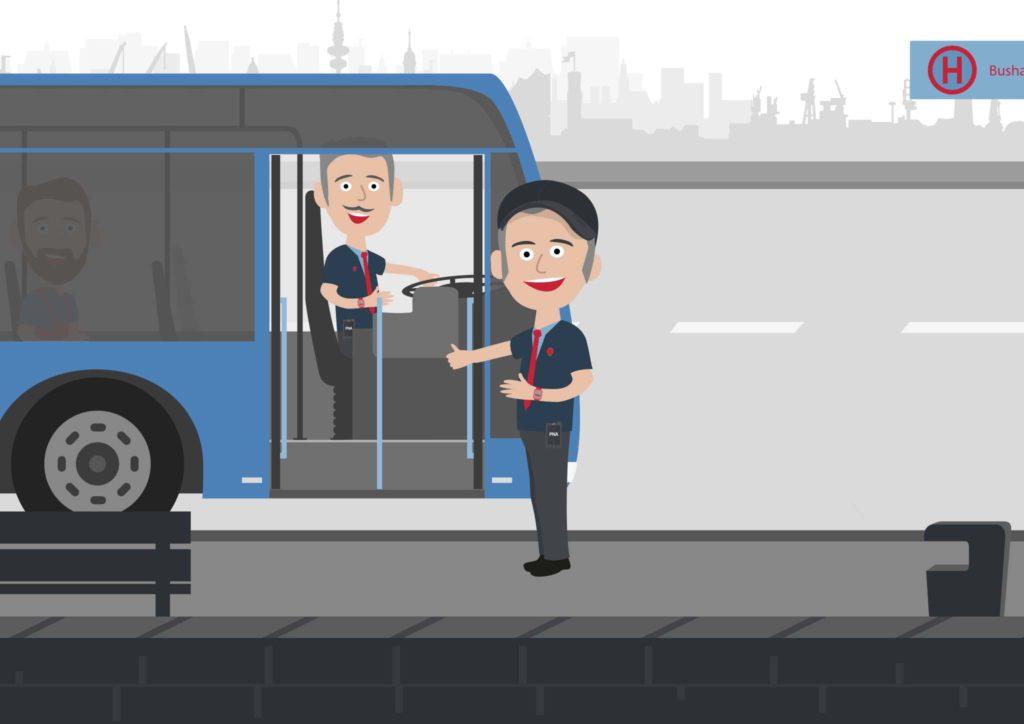 Busfahrer und Kontrolleur an der Bushaltestelle • PNA Anwendungsbeispiel • Personen-Notsignal-Anlagen Einsatz • PNA Einsatzgebiet • PNA für den ÖPNV